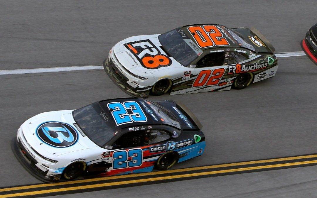 In a hectic race at Talladega Superspeedway over the weekend, Our Motorsports drivers Blaine Perkins and Brett Moffitt finished 13th and 26th, respectively.